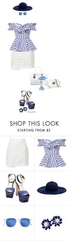 """Off-Shoulder Top 💙"" by ragnh-mjos ❤ liked on Polyvore featuring Topshop, Caroline Constas, Prada and Seafolly"
