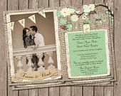 Rustic Wedding Invitation, Mint, Cream, Burlap & jars, Digital file, Printable