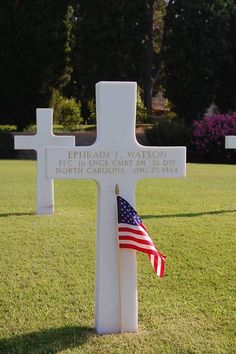Private First Class Ephraim F. Watson U.S. Army 111th Engineer Combat Battalion, 36th Infantry Division Entered Service From: North Carolina Service # 34016297 Date of Death: August 25, 1944 Buried: Plot D Row 9 Grave 15 Rhone American Cemetery Draguignan, France