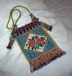 RARE 1926 VINTAGE MICRO BEADED PURSE MONOGRAMS GORGEOUS COLORS