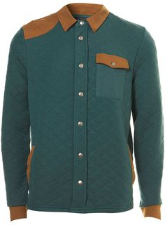 GREEN QUILTED JERSEY JACKET.