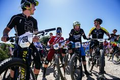 Mitch Ropelato Curtis Keene Josh Carlson and Brian Lopes hamming it up before the start of the Sea Otter Enduro.
