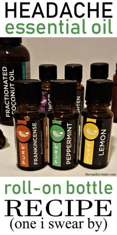 Headache Essential Oil Roll-On Bottle Recipe (one that i swear by) · The Candie Corner Headaches can Essential Oils For Migraines, Doterra Essential Oils, Essential Oil Blends, Doterra Blends, Pure Essential, Yl Oils, Essential Oil Bottles, Roller Bottle Recipes, Oil For Headache