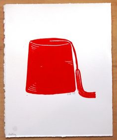 Red Fez  lino cut  block print by boozyb on Etsy, $10.00