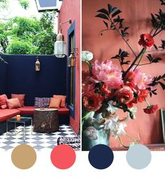 Beautiful smouldering salmon are highlighted by coco+kelley as the ideal outdoor living space colour. This gentle colour makes a real impact on patio and courtyard areas and teams beautifully with dark blue.
