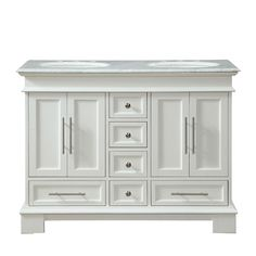 Silkroad Exclusive 48 in. W x 22 in. D Vanity in White Oak with Marble Vanity Top in Carrara White with White Basin at The Home Depot - Mobile Granite Vanity Tops, Marble Vanity Tops, White Vanity, White Sink, Marble Top, White Marble, Home Design, Interior Design Trends, Küchen Design