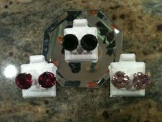 Round Cubic Zirconia CZ Stud Earrings 12mm 9.25 1-Pair Black, Red or Pink
