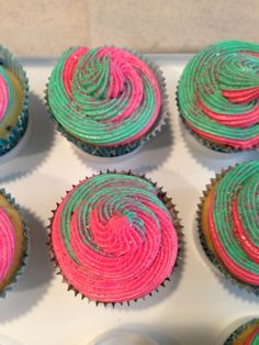 Pink and teal swirl cupcakes