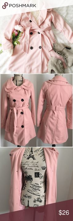 "Lovely Pink Belted Coat ✦ This jacket looks lighter /darker depending on the lighting. The first photo has a light filter used. PRICE IS FIRM ALL OFFERS WILL BE RECLINED, BUNDLE FOR DISCOUNT ✦  ❥chest:17.5"" ❥waist:14.5"" ❥length:32"" ❥sleeves:23"" ➳material/care:no tags, but lined w/a medium weight outer shell  ➳fit:like a 2 (in my opinion) ➳condition:has glue in the belt i  ✦20% off bundles of 3/more items ✦No Trades  ✦NO HOLDS ✦No transactions outside Poshmark  ✦No lowball offers/sales are…"