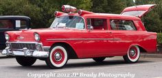 1956 Chevy Ambulance before the Ghostbusters got ahold of it Police Truck, Police Cars, Fire Dept, Fire Department, Station Wagon Cars, Old American Cars, Flower Car, Rescue Vehicles, Emergency Vehicles