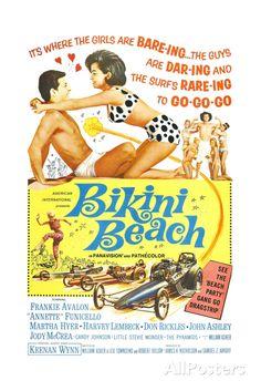 BIKINI BEACH, Poster Art, Frankie Avalon, Annette Funicello, 1964 Art Print at AllPosters.com