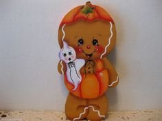HP Gingerbread Halloween ginger with ghost Shelf Sitter hand painted USA
