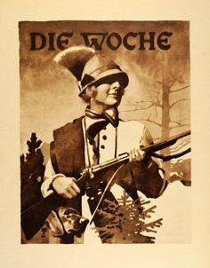 """Die Woche"" This is an original 1926 photogravure of an advertising poster by Ludwig Hohlwein for the German weekly magazine Die Woche. (Please note that there"