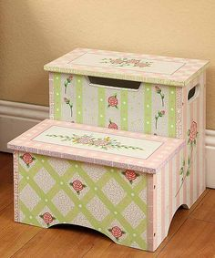 Teamson Kids Girls Step Stool with Storage - Crackled Rose Room Collection | zulily