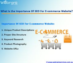 What is the importance of SEO for E-commerce website? In order to boost the sales of your business, e-commerce plays a very important role. Nowadays, e-commerce is the best way to promote the business. E-commerce helps in trading of goods and services over the internet. Today you can find any kind of goods or services online by just clicking the mouse at the comfort of your home. http://webrankservices.com.au/what-we-do/seo-services-australia/