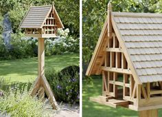 Bird house with wooden shingles