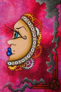 8 x 10 imprimer Fantasy ventru engrenages industriels de Steampunk Cog Dieselpunk Machine Lowbrow surréalisme Pop visage masque Reproduction Natalie VonRaven