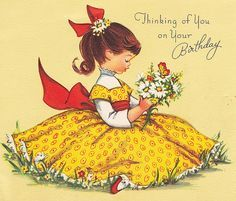Items similar to Vintage Thinking of You On Your Birthday Greetings Card on Etsy Vintage Greeting Cards, Birthday Greeting Cards, Birthday Greetings, Vintage Postcards, Vintage Images, Birthday Postcards, Card Birthday, Vintage Ideas, Vintage Pictures