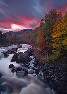 """Autumn Ablaze"" - *Wilmington Flume sunset, Ausable River, Adirondack State Park, New York* -- [Photographer Ian Plant - October 21 2010]'h4d'1062012"