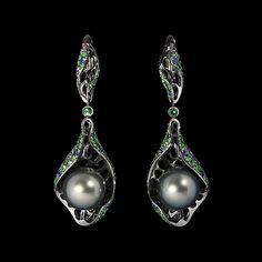 Mousson Atelier, collection Undina, ear pendants, Black gold 750, Pearl, Tsavorites, Multicolored sapphires