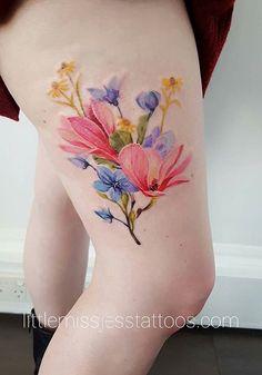Jess Hannigan watercolor flower tattoo