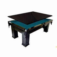 Mesa de bilhar e jantar com tampo.  Cor preto brilhante, pano azul.  + Informações: (19) 32277458 - 78079765 - 9.92873947 Whats Preços  R$ 2.600,00 ate 12x ou R$ 2.350,00 avista.