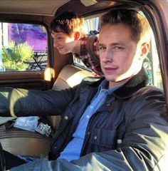 Jared Gilmore (Henry) and Josh Dallas (Prince Charming) on the set of Once Upon A Time. #OUAT