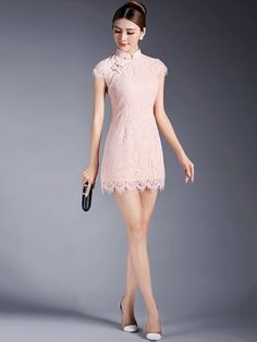 Short Lace Qipao / Cheongsam Dress Korean Girl Fashion, Asian Fashion, Dance Outfits, Dance Dresses, Chinese Gown, Cheongsam Dress, Chinese Clothing, Ao Dai, Asian Style