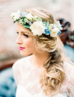 Blue + white flower crown with a textural braid