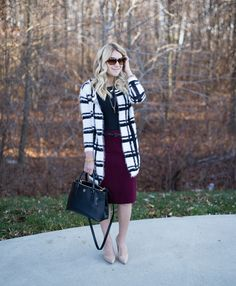 What I Wore to Work Weekly Linkup #91: Grid Cardigan - Mix & Match Fashion