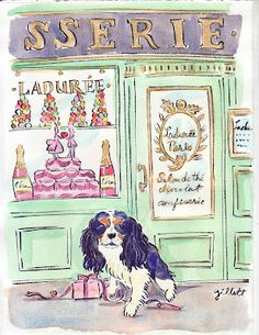 Painting darling Biff was no piece of cake it turns out. Paris Illustration, Illustration Sketches, Watercolor Illustration, Illustrations, Springtime In Paris, Cute Dog Photos, Paris Images, Paris Art, Cavalier King Charles