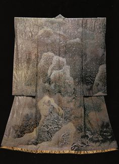 Snow in Late Winter(1991) by the Late Japanese textile artist Itchiku Kubota(1917-2003) from the exhibition,Kimono as Art: The Landscapes of Itchiku Kubota, Canton Museum of Art in Canton, Ohio (February 8-April 26, 2009).  (C) Itchiku Kubota Art Museum in Yamanashi, Japan.
