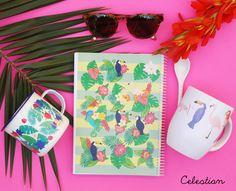 ¡NUEVA COLECCIÓN! La selva tropical ha llegado a Celestian y nos ha dejado una colección de lo más alegre y colorida. ¡Y con novedades! Porque además del cuaderno, tenemos dos modelos nuevos de taza que son ma-ra-vi-llo-sos! ¿Os gusta? Pues tenemos una sorpresa más, y es que durante hoy y mañana tenéis todos los productos de la colección con un 10% de descuento! #tropical #verano #cosasbonitas  #pinterest