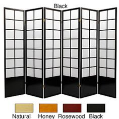 @Overstock - This Zen room divider is crafted from durable Scandinavian spruce using Asian-style mortise and tenon joints. The lacquered brass, two-way hinges mean this six-panel decorative screens bend in either direction