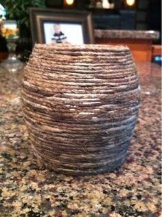 Make our own twine covered decor! Easy and inexpensive. Vashon Island, Cheap Office Decor, Arts And Crafts, Diy Crafts, Pencil Holder, Fake Flowers, Cabin Ideas, Artsy Fartsy, Twine