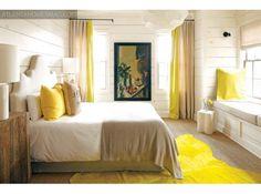 bedroom | linen drapes with color border | kay douglas | atlantahomesmagazine