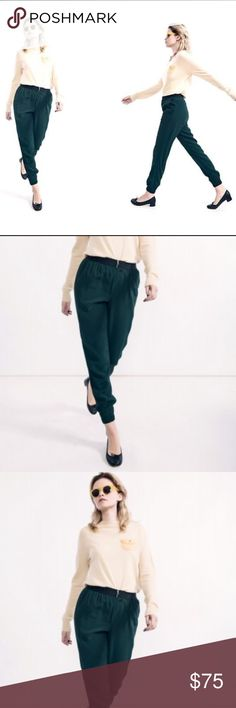 Rachel comey jogger pants Gorgeous deep spruce green neutral. Worn once. Zipper front closure with stretch waist and banded at ankle. These are killer with heels too! Rachel Comey Pants Track Pants & Joggers