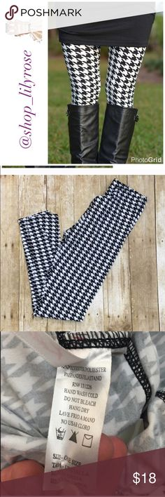 Houndstooth leggings These are so soft and buttery smooth! They are NOT cotton so they won't fade or lose their shape! They are 92% polyester and 8% spandex. OSFM (one size fits most) fits size 4-12 or small, medium and large. Listed as a medium since OSFM is not an option :-) Pants Leggings