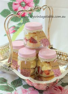 Strawberry Shortcakes in Jars for a vintage picnic or afternoon tea.: