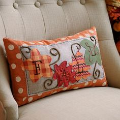 Patchwork Fall Leaves Accent Pillow                              …