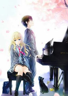 Kaori, Kousei, black cat, piano; Your Lie in April
