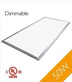 Troffer 2'x4' 50 Watt UL LED Panel Light Dimmable Warm White 3000k 4300 Lumens 1-Pack