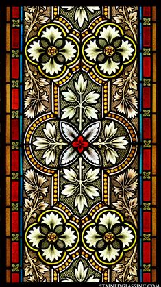 Ornate and detailed symmetrical design of lilies, leaves and borders in white, green, red, and yellow. Islamic Art Pattern, Pattern Art, Boarder Designs, Stained Glass Designs, Christian Art, Stained Glass Windows, Textile Prints, Pattern Wallpaper, Flower Art