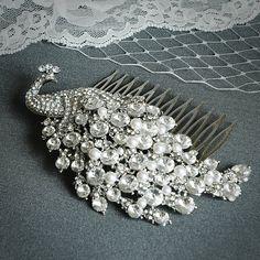 DOROTHY Large Vintage Wedding Hair Comb Art by GlamorousBijoux, $76.00