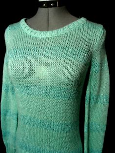 APT.9 Metallic Sequin Sweater Top womens S Sky Blue Sparkle ribbed L/S pullover #Apt9 #Pulloverscoopribbedsequinsparklesweater