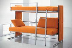 Solid Yet Sturdy Orange Sofa Bunk Bed in Minimalist Design Creativity