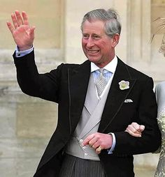for his Church wedding ceremony, Prince Charles had his coat made up with traditional silk braiding around the edges (morning coats do not traditionally take silk faced revers) and single button rather than link closure; double-breasted vest w/ lapels & slip; patterned tie & coordinating (not matching) pocket square; striped shirt w/ white spread collar & french cuffs. Note: no wedding ring, just his signet ring (pinky)