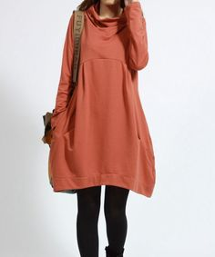 Casual Long Sleeve T-shirt for Autumn and Spring - Deep Orange - Long Sleeve Women Clothing (S-XL)