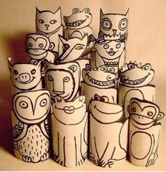 Toilet paper roll animals.