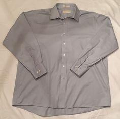 Michael Kors Shirt Mens XL 34/35 Long Sleeve Button Down Dress Light Blue Grey #MichaelKors